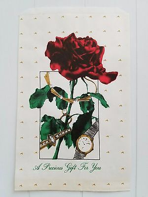 Vtg 140 Rose Gift Bags Flat Jewelers Goodies Favors 6.25 X 9.25 Red Green Gold
