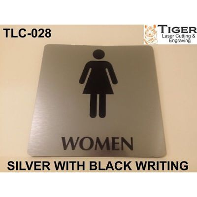 Engraved Bathroom Sign: Women Toilet Sign - 13Cm X 13Cm Or 5.1In X 5.1In