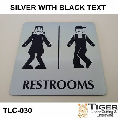FUNNY BATHROOM Toilet BOW-LEGGED UNISEX RESTROOM SIGN 13CMX13CM / 5.1IN X 5.1IN