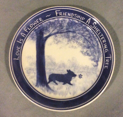 "Pembroke Welsh Corgi plate (or dish) hand crafted, ""Friendship"""