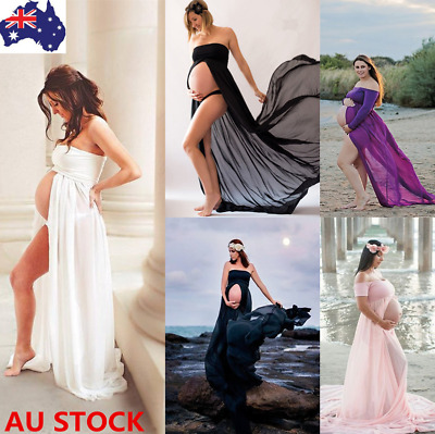 Women Chiffon Long Maxi Dress Pregnant Maternity Gown Photography Props Costume