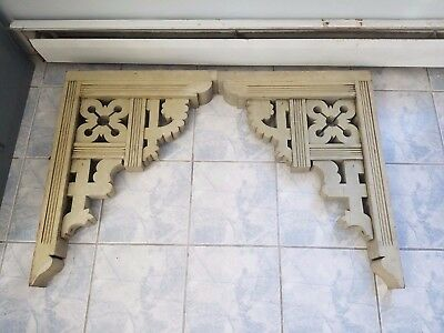 PAIR XL  Eastlake gingerbread porch overhang corbels brackets PRETTY 22 x 30""