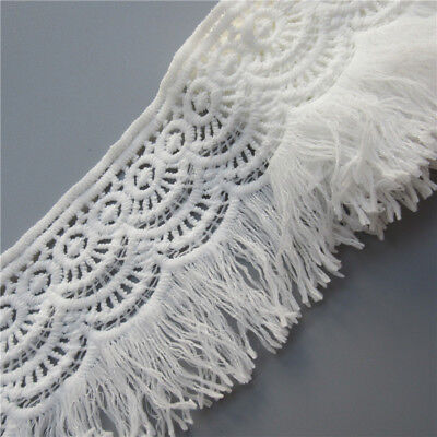 1yd Width 8cm Cotton Crochet Lace Trim Ribbon Embroidered Appliques Sewing Craft