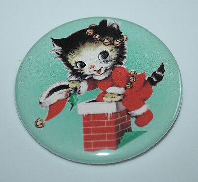 SANTA CLAUS KITTEN MAGNET Christmas Vintage Retro Holiday Cat Art 2.25 Inch