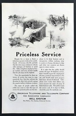 1924 Vintage Print Ad BELL SYSTEM Switchboard Operator Illustration Telephone