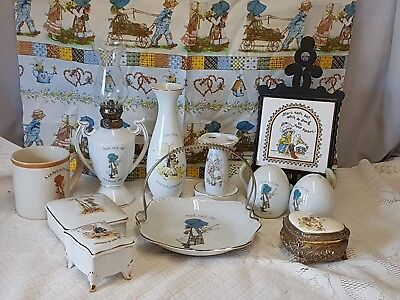 Vintage Holly Hobbie Fantastic Assorted Collection Of 12 Items. Lamp, S & P+++++