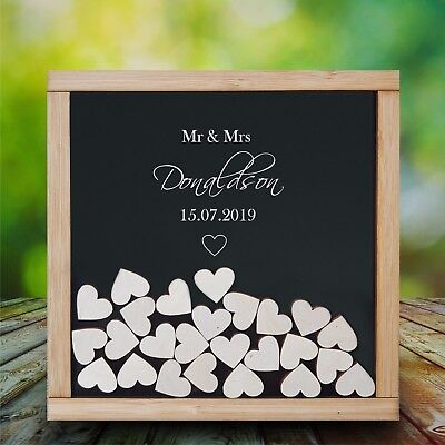 Personalised Wood Frame & Acrylic Wedding Heart Drop Box Guest Book