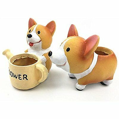 Payong Welsh Corgi Planter Flower Pot Succulent Dog BoxFleshy Flower Pot(Set Of