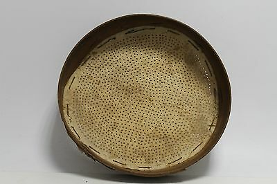 Antique Primitive Old Hand Carved Wood And Tin Sieve Bolter.
