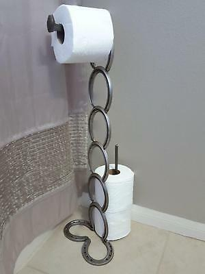 Horseshoe and Railroad-Spike Toilet Paper Holder - The Heritage Forge Brown