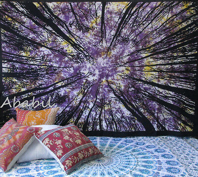Indian Wall Hanging Tie Dye Locust Tree Twin Tapestry Bedspread Decorative Throw
