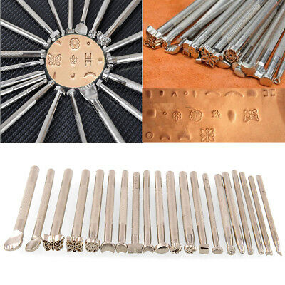 20Pcs Stainless Steel Leather Carving Engrave Flower Craft Tools Stamp Sets Hot