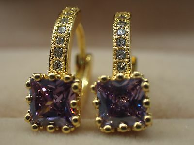 18k Yellow gold Solid Created diamond Princess Amethyst Hoop Huggie Earrings