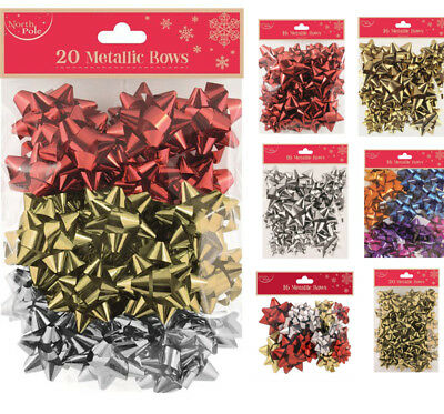 Christmas Assorted Sizes Self Adhesive Gift Bows Small & Large Xmas Present Wrap