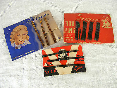 Ladies Hair Pins Bobby Pins on Original Cards, Vintage New Old Stock NOS