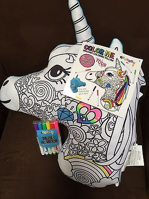 Justice Unicorn  Emoji  Color Your Pillow Soft Plush Back W/fabric Markers