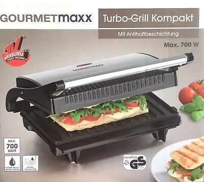 gourmetmaxx 09898 turbo grill kompakt panini maker f r fettarmes grillen neuware eur 19 99. Black Bedroom Furniture Sets. Home Design Ideas