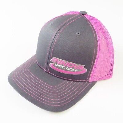 (Gray/Pink) - Innova Logo Adjustable Mesh Disc Golf Hat. Free Delivery