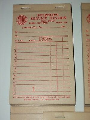3- NOS 1940 SINCLAIR Oil Gas Station RECEIPT BOOKS Sterners Central City PA Mint