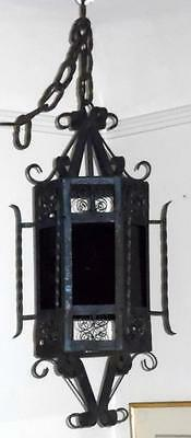 Vtg Wrought Iron Spanish Revival Chandelier Medieval Hanging Ceiling Fixture