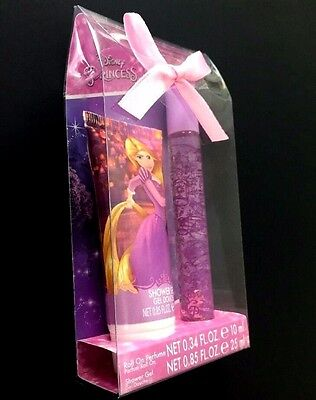 Tangled Disney Princess Rapunzel Gift Set Roll On Perfume Shower Gel New w/ Bow