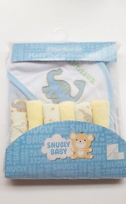 New Snugly Baby Cozy Hooded Towel and 3 Wash Cloths Limited 7 Peice Set