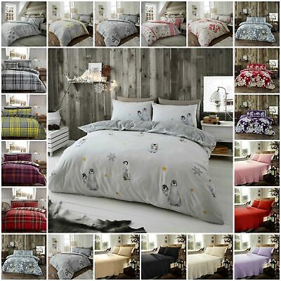 Brushed Cotton Flannel / Flannelette Bedding Set Duvet Quilt Cover Double King