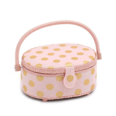 HobbyGift HGSO310 | Blush and Gold Dot Small Oval Sewing Box | 10 x 23 x 18cm