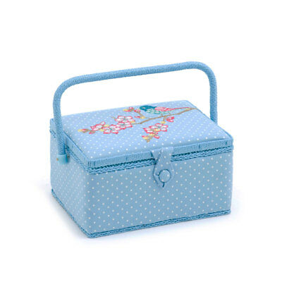 HobbyGift MRME198 | Tweet Medium Sewing Box | Embroidered | 18.5 x 26 x 15cm