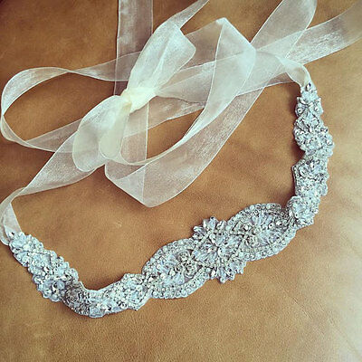"Wedding Bridal Sash Belt, Crystal Pearl Wedding Dress Sash Belt = 16 3/4"" long"