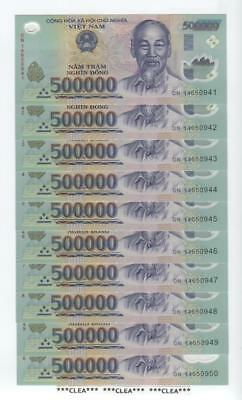 5 MILLION NEW CRISP UNC CONSECUTIVE VIETNAM DONG USA SELLER 10 x 500,000 500000