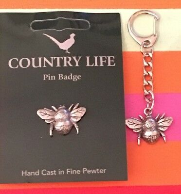 Bumble Bees keyring and/or badge Pewter Made in UK Bee Keeping Honey Farm Hive