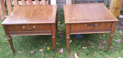 Pair Of Drexel Heritage Mid Century Modern End Tables W Dove Tail Drawers
