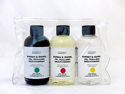 3 x 100ml Bottles of Coconut Oil Pulling Mouthwash Supplied in Clear Cosmetic