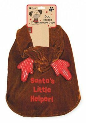 Pet Hooded Christmas Rudolph Cape Outfit Puppy Cat Dog Reindeer Fancy Dress Gift