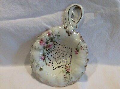 Antique Porcelain Tea Strainer -  Floral w Gold trim