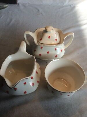 W.S. George Covered Sugar Bowl Creamer And Cup Red Poppies