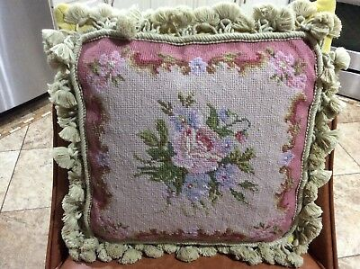 Vintage Wool Needlepoint Floral Pillow With Tassels