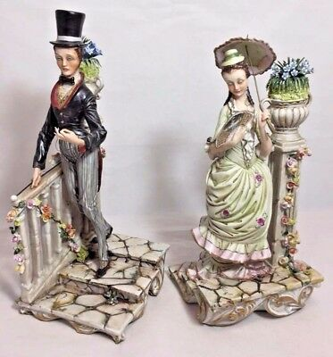 "Pair Rare Vintage Signed ""Works of Art"" Italy Porcelain Figurines"