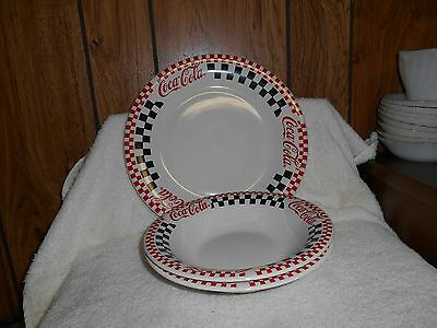 Coca Cola dinnerware 1 plate, 2 soup bowls, by Gibson Co. 2001 USA