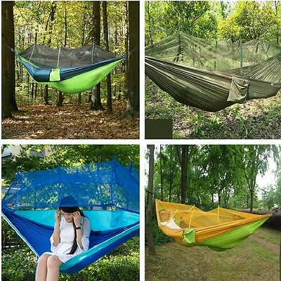 Double Person Travel Outdoor Camping Tent Hanging Hammock Bed +Mosquito Net NEW