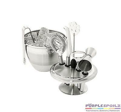 NEW AVANTI 8 PIECE ART DECO BAR TOOL SET Ice Bucket Jigger Whisk Caddy Tongs