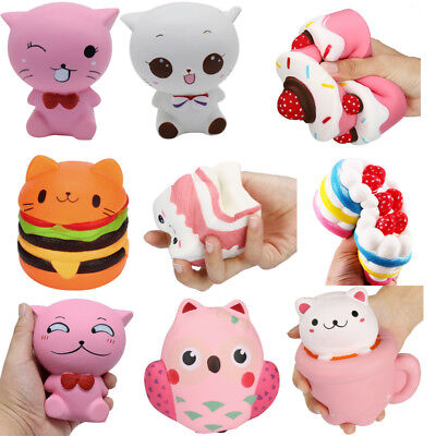 Jumbo Squishy Cute Owl  Animals Bread Buns Cream Scented Slow Rising Kid Toy lot