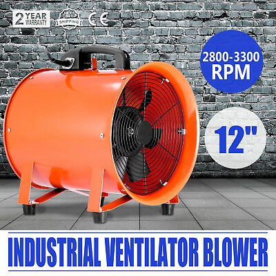 "12"" Industrial Fan Ventilator Extractor Blower Heavy Duty Telescopic Basement"