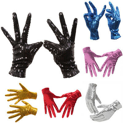 Unisex Kids Adults Sequin Gloves Blingbling Shiny Show Gloves Dance Sing Party