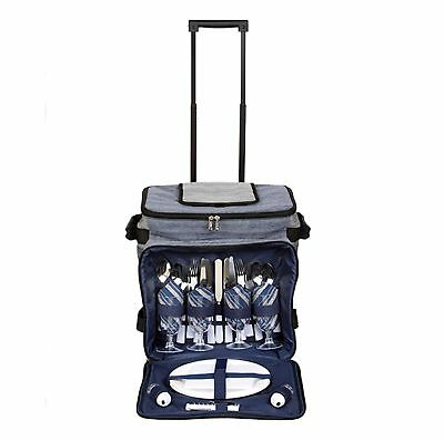 NEW THERMOS 4 PERSON PICNIC SET ON WHEELS  Insulated Cooler Drinks BLUE GREY