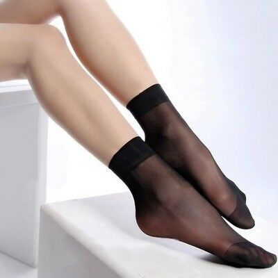 US Stock Ann Diane Women Ankle Sheer Ultra Nylon Socks 6 pairs Color Black