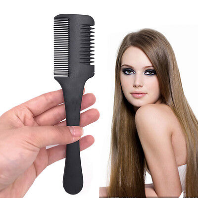 Professional Hair Razor Comb Black Handle Shaving Cutting Thinning Comb Tool