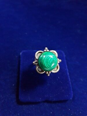 Anello Argento 925 con Malachite-925 Silver Ring with Malachite