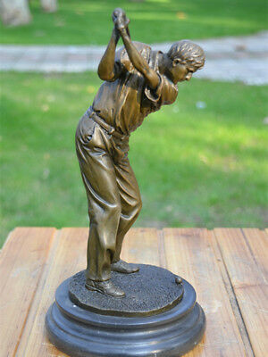 Art Deco handmade Sculpture man Golf Bronze Copper Statue